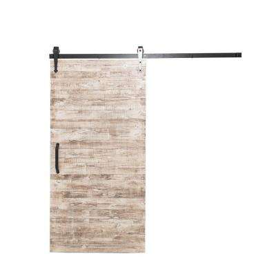 42 in. x 84 in. Rustica Reclaimed White Wash Wood Barn Door with Arrow Sliding Door Hardware Kit