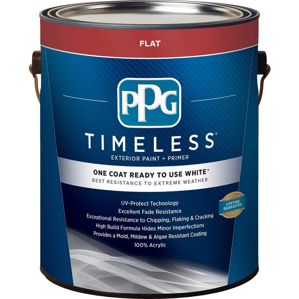 Ppg timeless 1 gal white flat exterior ready to use one coat paint with primer ppg73 100 01 for Best one coat coverage exterior paint