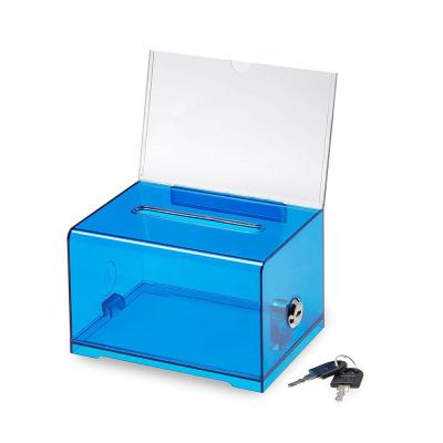 Acrylic Clear Locking Suggestion Box, Crystal Blue