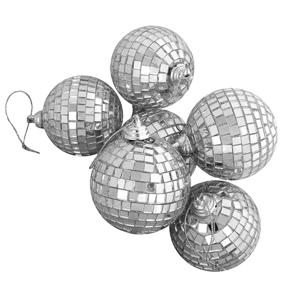 Silver Splendor Mirrored Glass Disco Ball Christmas Ornaments (6-Count)