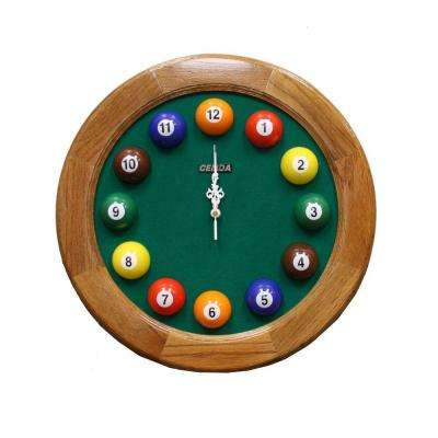 17 in. x 17 in. Round and Wood Pool Wall Clock