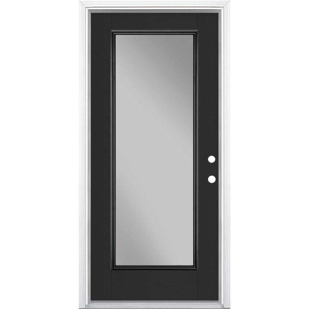 Masonite 36 in. x 80 in. Full Lite Jet Black Left Hand Inswing Painted Smooth Fiberglass Prehung Front Exterior Door w/ Brickmold