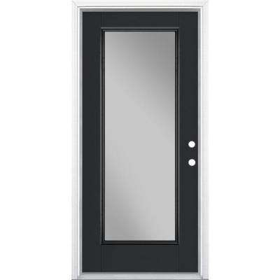 36 in. x 80 in. Full Lite Jet Black Left Hand Inswing Painted Smooth Fiberglass Prehung Front Exterior Door w/ Brickmold
