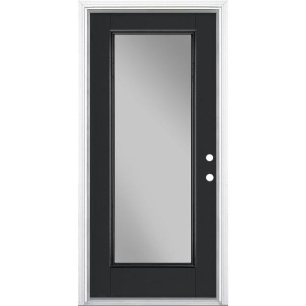 36 in. x 80 in. Full Lite Jet Black Left Hand Inswing Painted Smooth Fiberglass Prehung Front Exterior Door w/ Brickmold