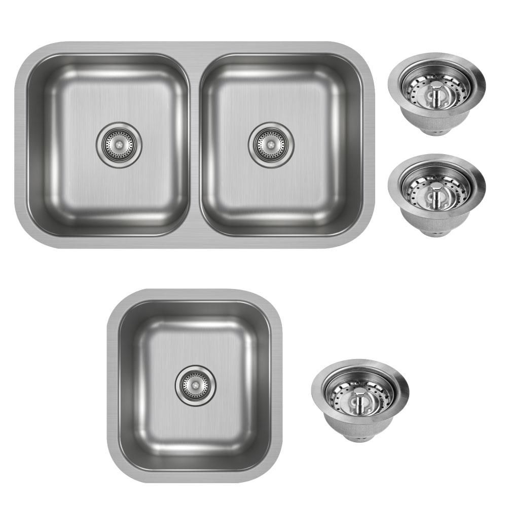 Elkay Dayton Undermount Stainless Steel 32 In Double Bowl Kitchen Sink With 17 In Bar Sink And Drains