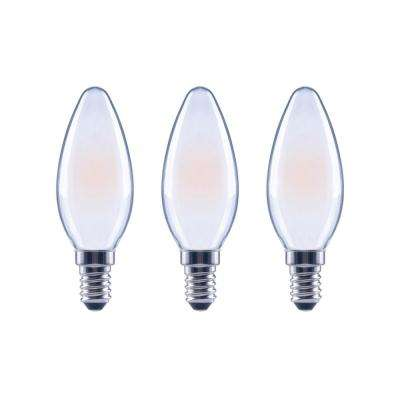 60-Watt Equivalent B11 Dimmable ENERGY STAR Frosted Glass Filament Vintage Edison LED Light Bulb Soft White (3-Pack)