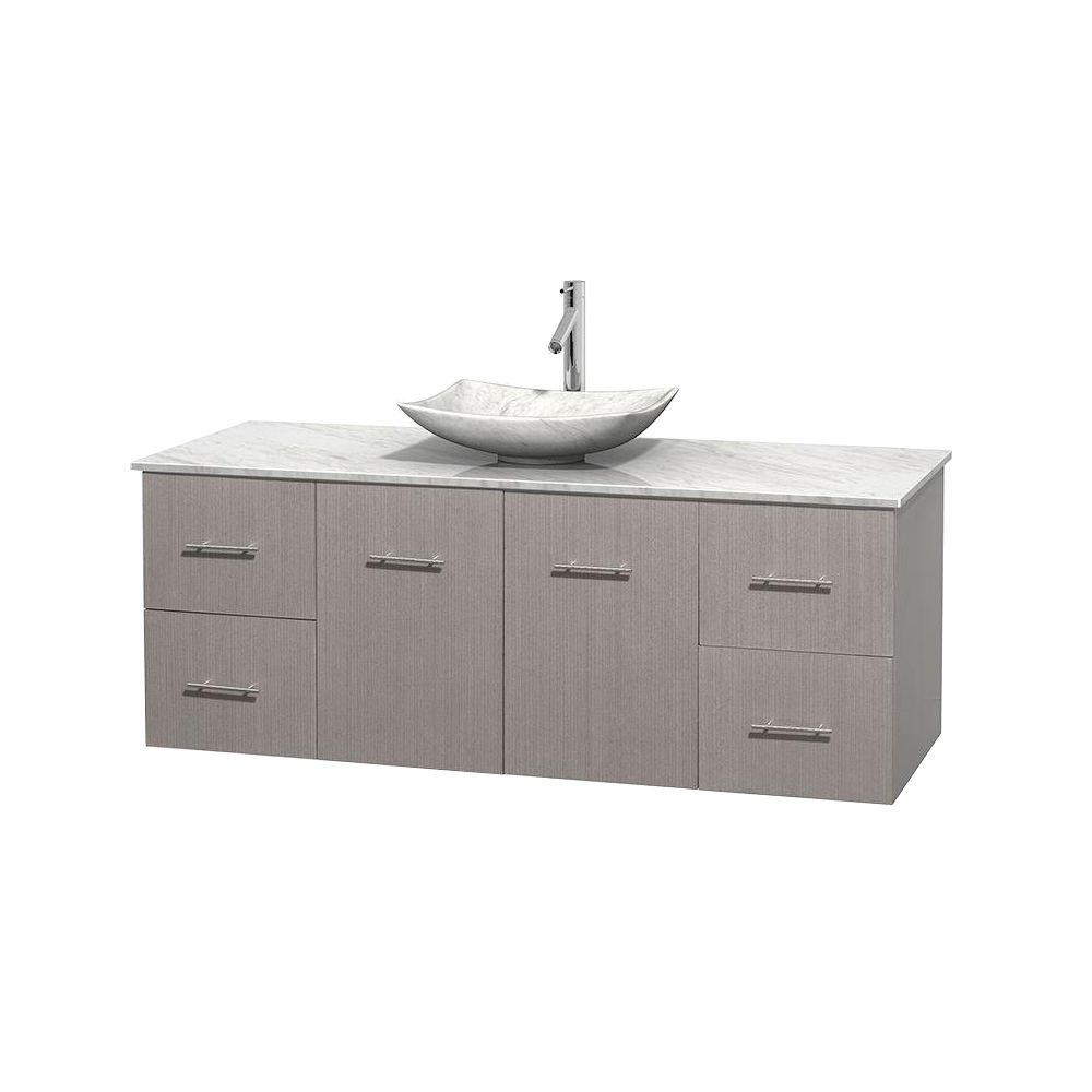 Centra 60 in. Vanity in Gray Oak with Marble Vanity Top