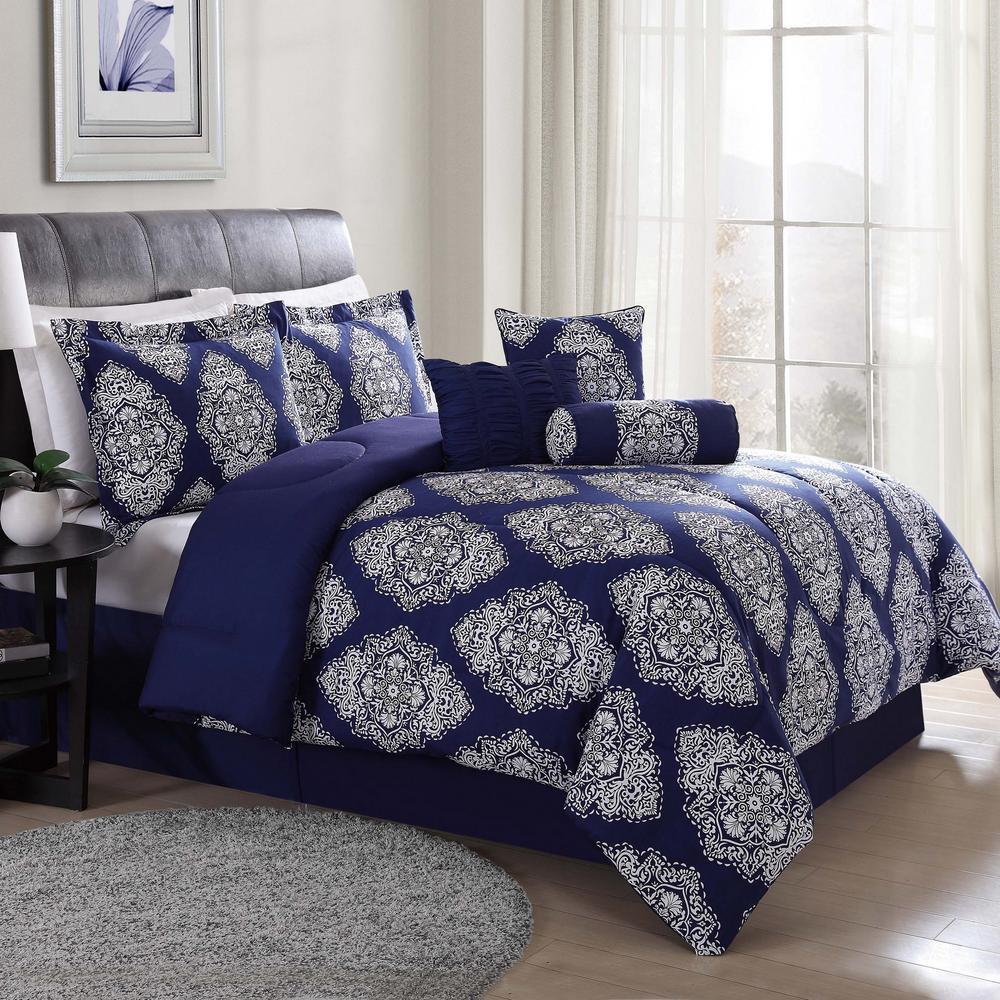 Barba White and Navy King 7-Piece Comforter Set