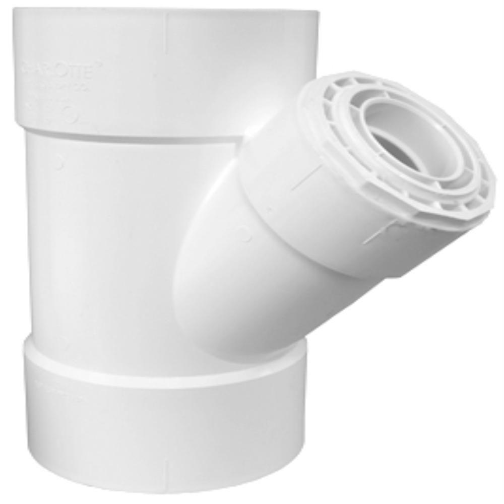 Charlotte Pipe 10 in. x 10 in. x 4 in. PVC DWV Wye Reducing