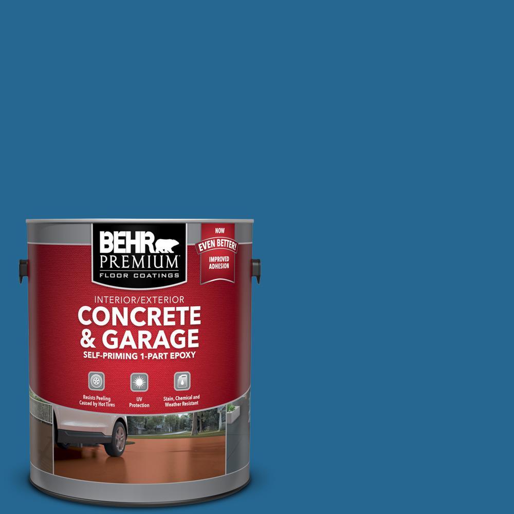 BEHR Premium 1 gal. #OSHA-1 OSHA SAFETY BLUE Self-Priming 1-Part Epoxy Satin Interior/Exterior Concrete and Garage Floor Paint