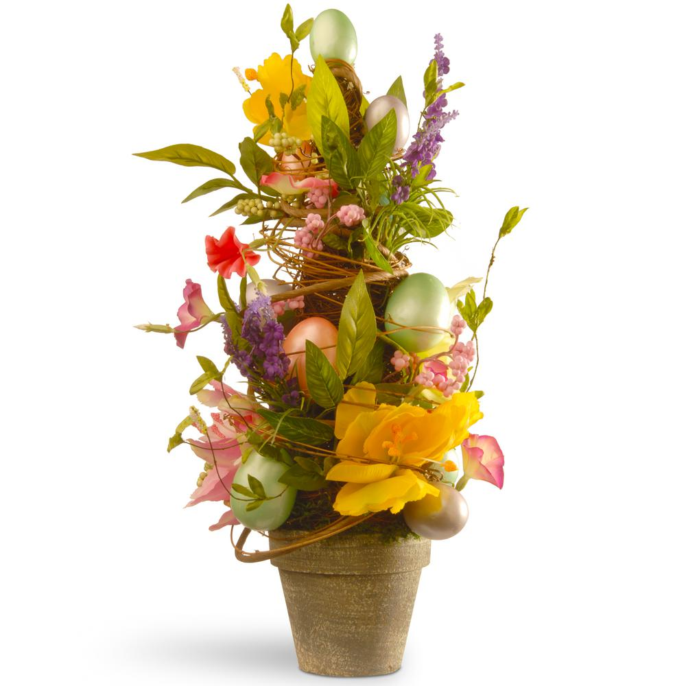 National Tree 20 in. Decorated Easter Pot with Tulip and ...