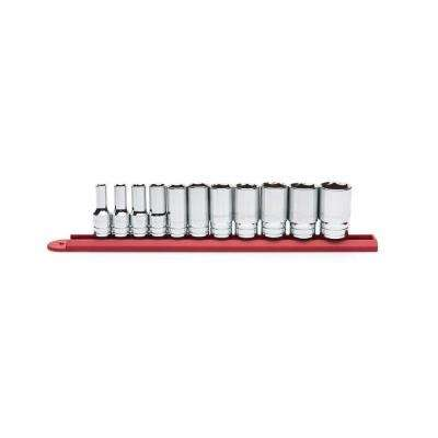 3/8 in. Drive SAE Mid Length Socket Set (11-Piece)