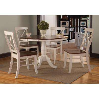 5-Piece Espresso and Distressed Almond Dining Set