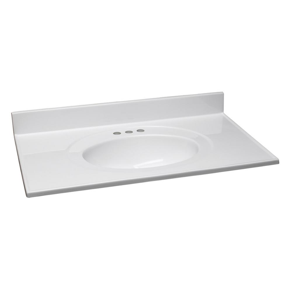 Design House 49 in. Cultured Marble Vanity Top with Solid White Basin