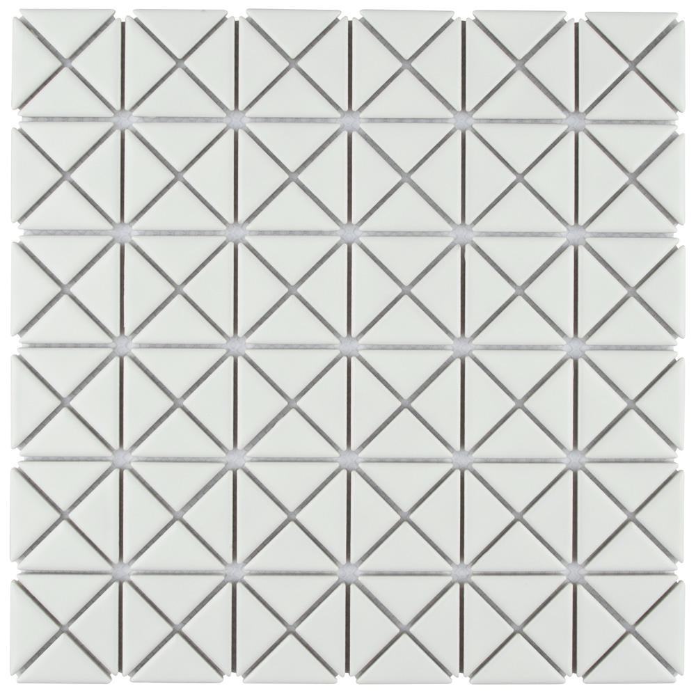 Tre Mini Crossover Matte White 10-3/4 in. x 10-3/4 in. x