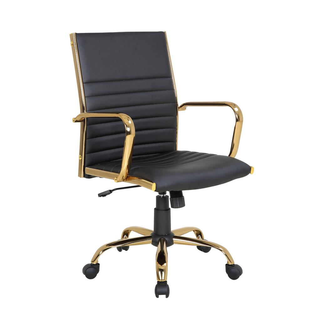 Fantastic Lumisource Master Gold With Black Faux Leather Adjustable Creativecarmelina Interior Chair Design Creativecarmelinacom