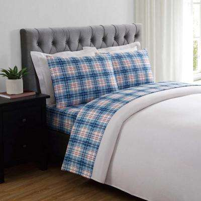 Everyday Printed Nautical Plaid Twin Sheet Set