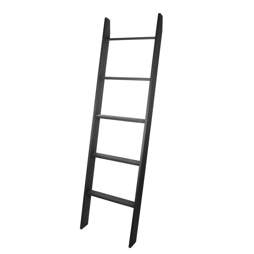 Lucus 72 in. Ebony Wooden Decorative Blanket Ladder