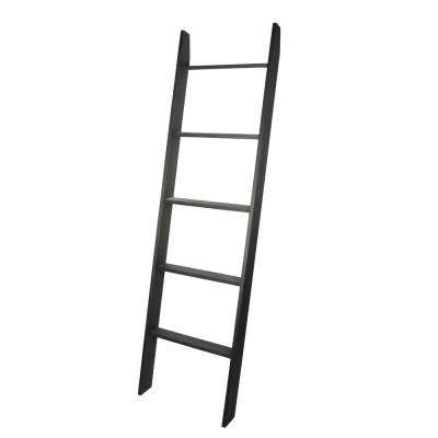 Lucus 72 in. Ebony Wooden Decorative Blanket Ladder