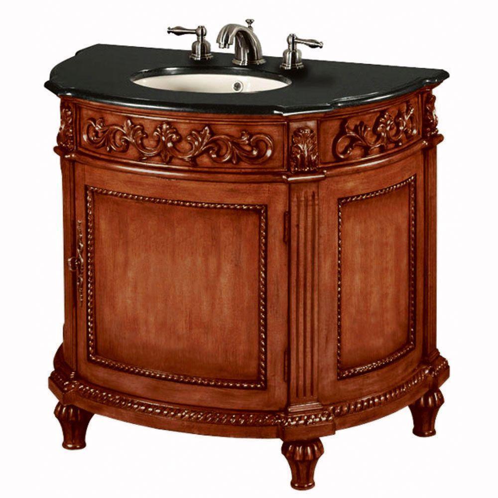 Home Decorators Collection Chelsea 37 in. W x 22 in. D Vanity in Antique Cherry with Granite Vanity Top in Black