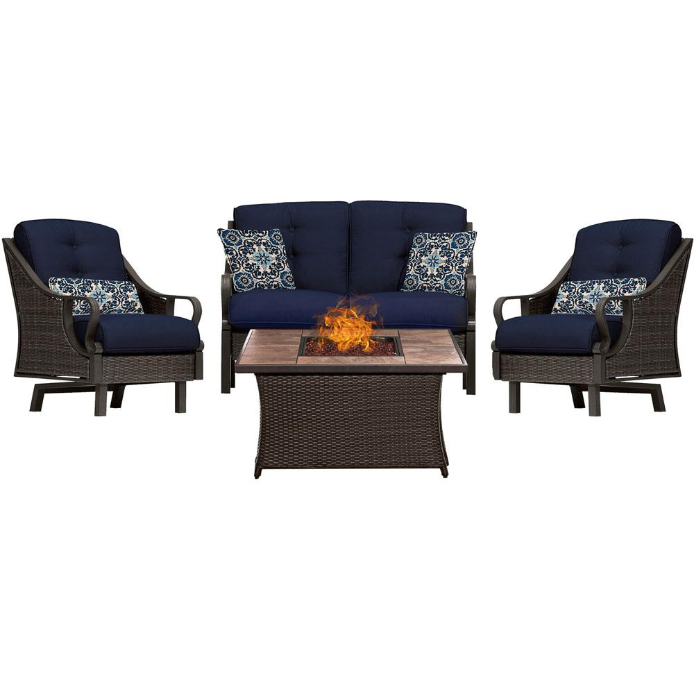 Hanover Ventura 4 Piece All Weather Wicker Patio