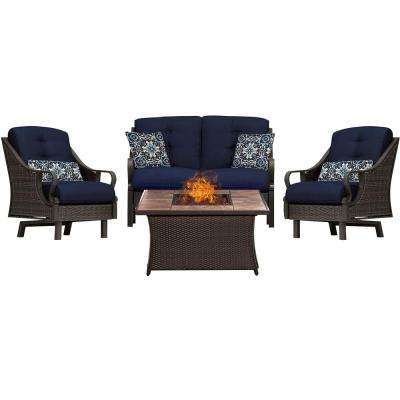 Ventura 4-Piece All-Weather Wicker Patio Conversation Set with Tile-Top Fire Pit with Navy Blue Cushions