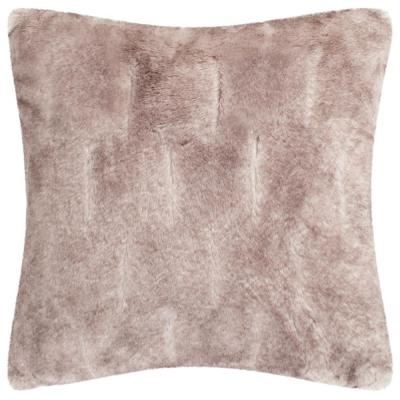 Faux Chinchilla Grey Solid Faux Fur Down Alternative 20 in. x 20 in. Throw Pillow