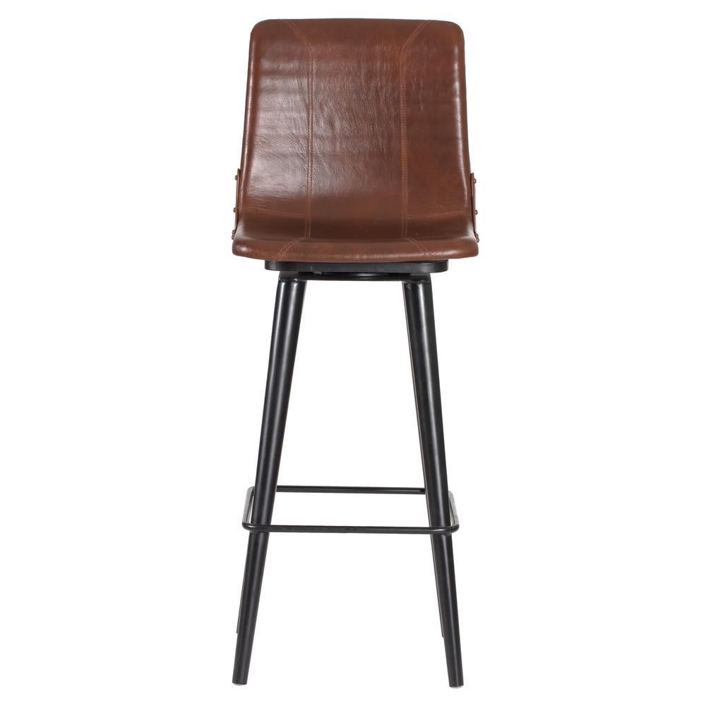 Hayward 44 in. Brown Genuine Leather Swivel Bar Stool