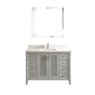 Aurora 48 in. W x 22 in. D Vanity in Oxford Gray with Quartz Vanity Top in White with White Basin and Mirror
