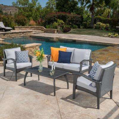 Honolulu Grey 4-Piece Wicker Patio Conversation Set with Grey Cushions