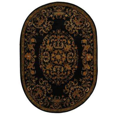 Heritage Black 4 ft. 6 in. x 6 ft. 6 in. Oval Area Rug