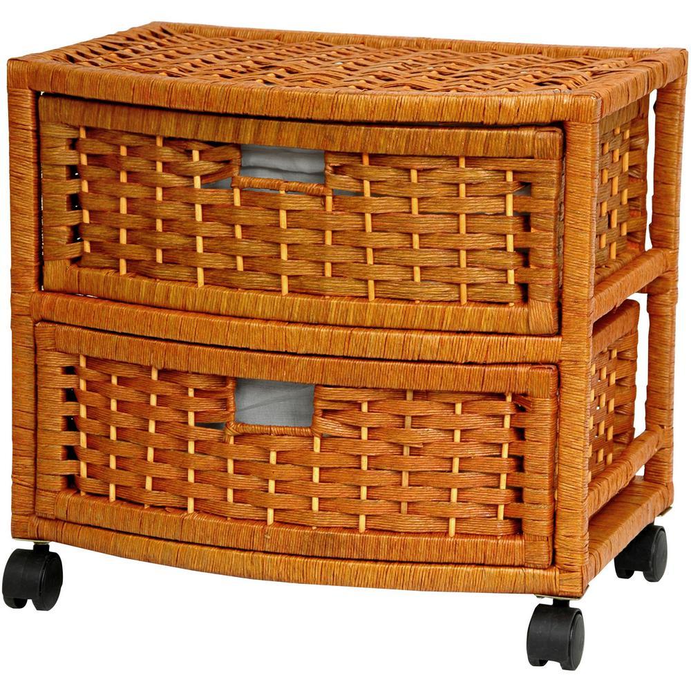 Oriental Furniture 2-Drawer Honey Natural Fiber Storage Chest