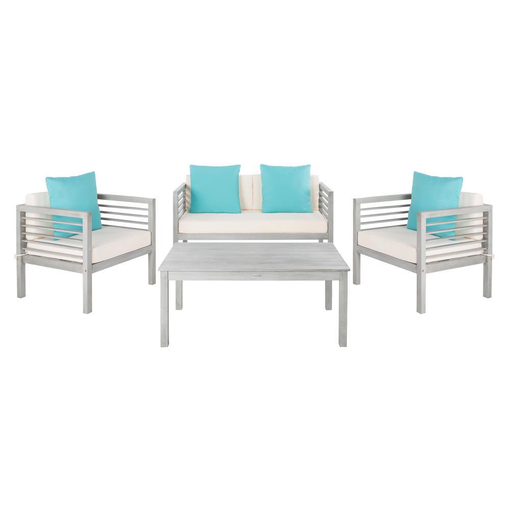 Safavieh Alda Grey Wash 4-Piece Wood Patio Conversation Set with White Cushions