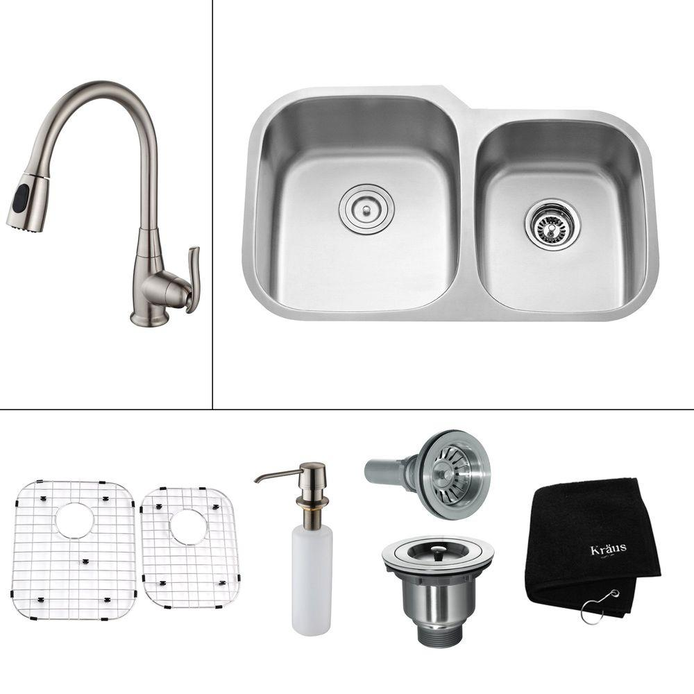 KRAUS All-in-One Undermount Stainless Steel 32 in. Double Bowl Kitchen Sink with Faucet and Accessories in Satin Nickel