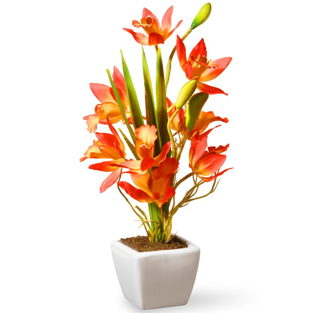 National Tree Company 13 In Yellow And Orange Orchid Flowers Nf36