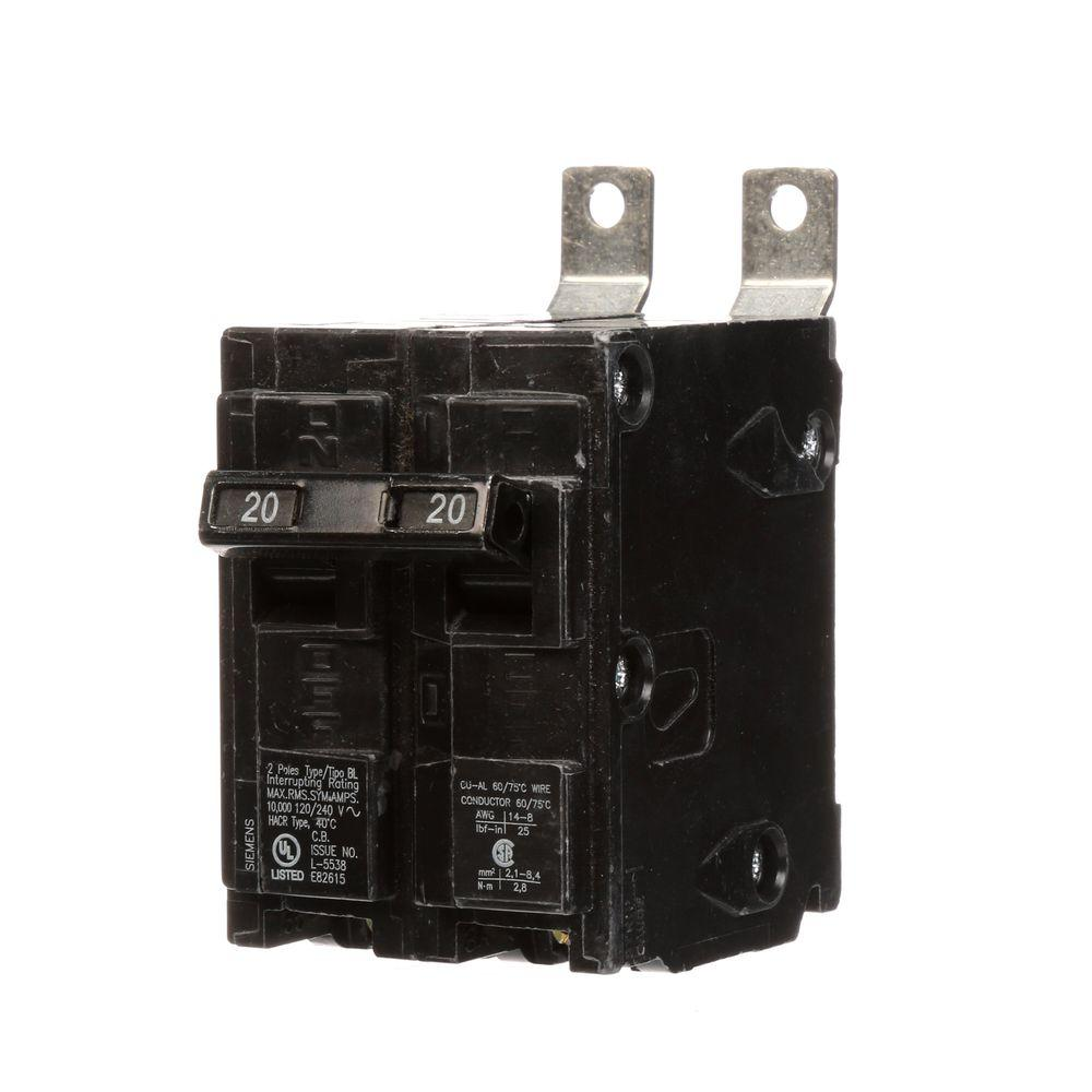 20 Amp Double-Pole Type BL Bolt-On Circuit Breaker