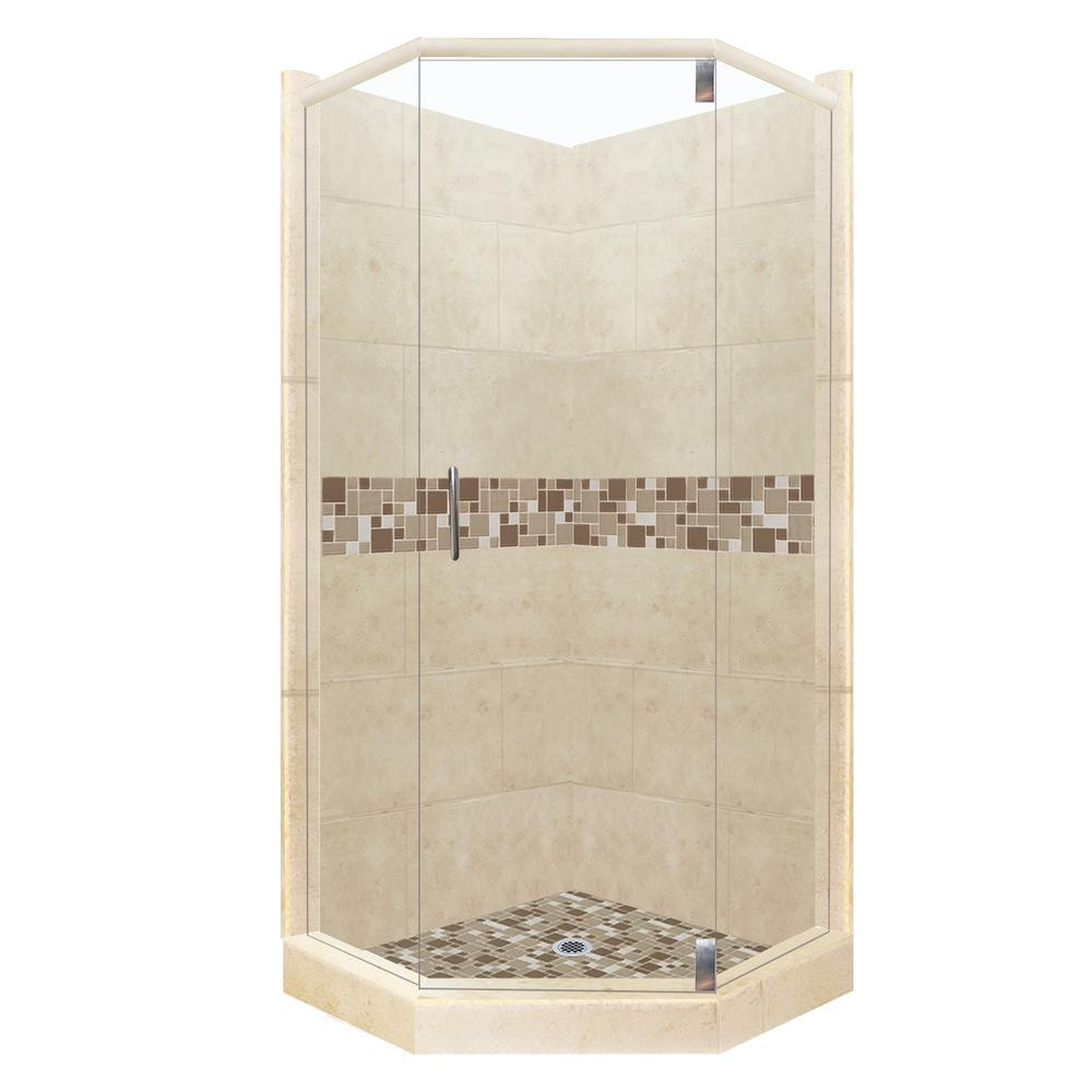 American Bath Factory Tuscany Grand Hinged 32 In X 36 80 Right Cut Neo Angle Shower Kit Brown Sugar And Chrome Hardware