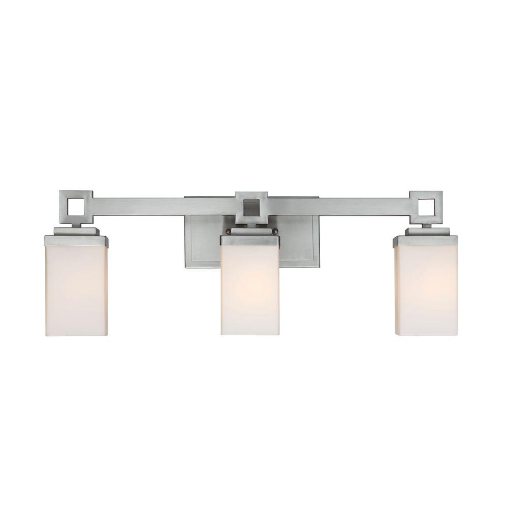 Vanity Light Home Depot: Golden Lighting Nelio Collection 3-Light Pewter Bath