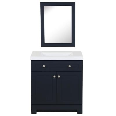 Everdean 30.5 in. W x 19 in. D Vanity in Deep Blue with Cultured Marble Vanity Top in White with White Sink and Mirror