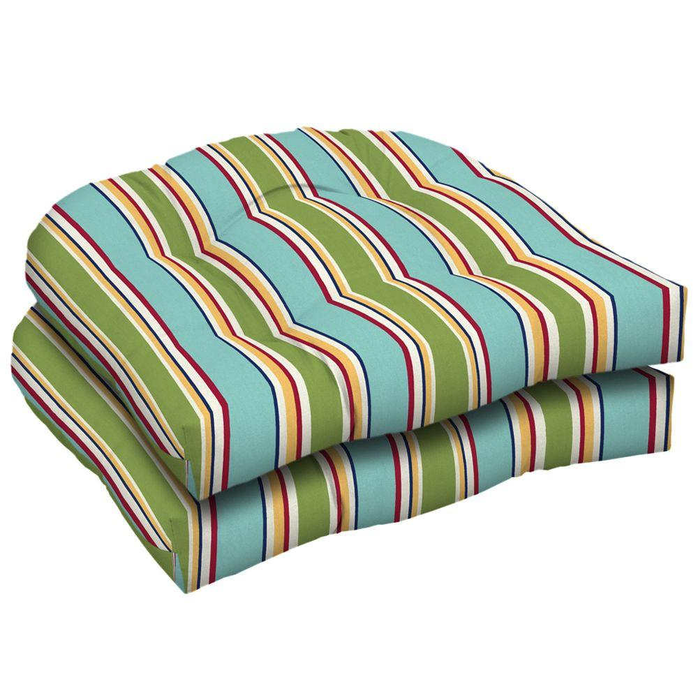 Arden Beach Stripe Wicker Tufted Seat Pad (Pack Of 2)-DISCONTINUED