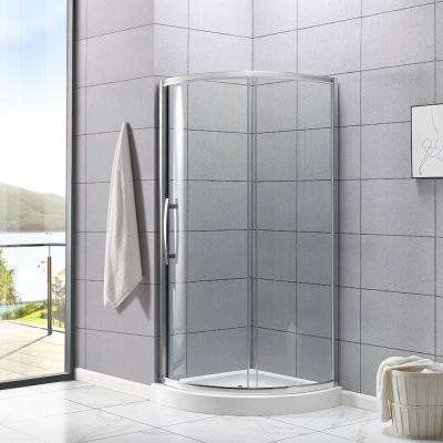 Maia 34 in. x 72.80 in. Semi-Frameless Sliding Shower Door in Chrome with 34 in. x 34 in. Base in White
