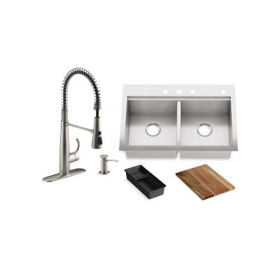 Lyric Workstation 33 in. Dual Mount Stainless Steel Double Bowl Kitchen Sink with Simplice Semi pro Kitchen Faucet