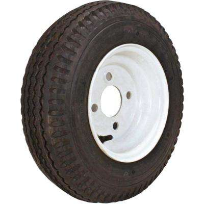 480-8 K371 590 lb. Load Capacity White 8 in. Bias Tire and Wheel Assembly