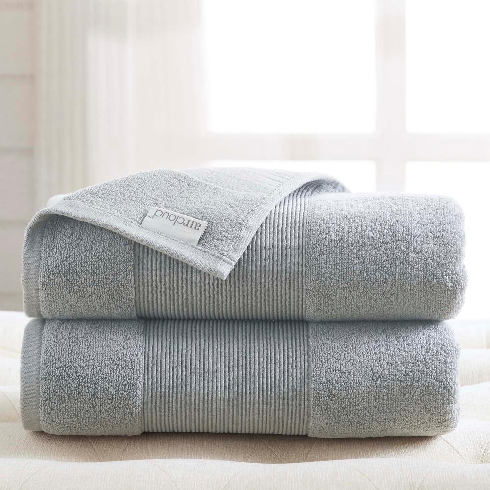 Air Cloud 2-Piece Soft Gray Oversized Bath Sheet
