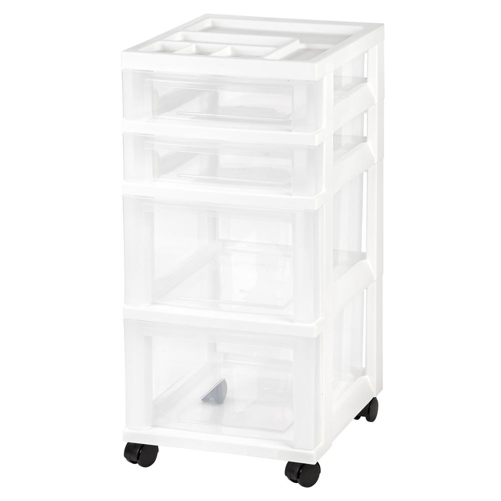 IRIS 12.05 In. X 26.44 In. White 4 Drawer Storage Cart With Organizer