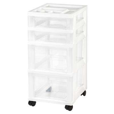 12.05 in. x 26.44 in. White 4-Drawer Storage Cart with Organizer Top (2-Pack)