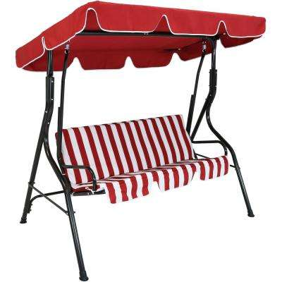 3-Person Black Steel Porch Swing with Red Striped Cushions