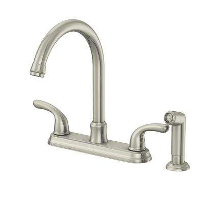 Builders 2-Handle Standard Kitchen Faucet with Sprayer in Stainless Steel