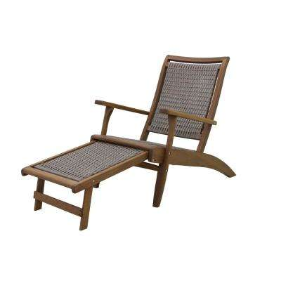 Grey Wicker and Eucalyptus Outdoor Lounge Chair with Built-in Ottoman