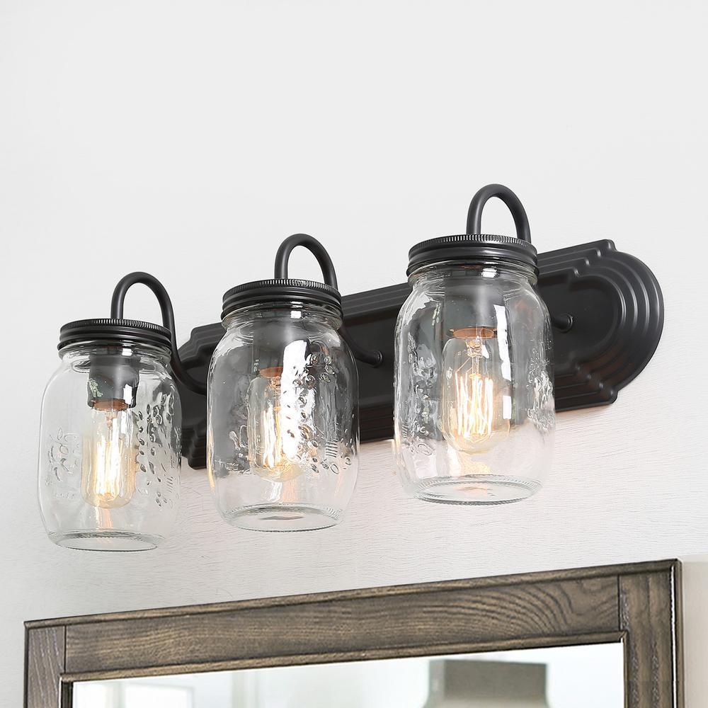 Mina 3-Light Oil-Rubbed Dark Bronze Modern Industrial Wall Sconce Vanity Light with Rustic Mason Jar Glass Shade
